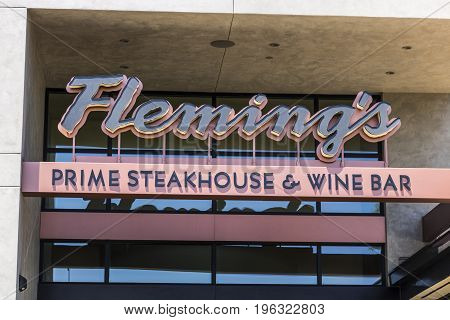 Las Vegas - Circa July 2017: Fleming's Prime Steakhouse and Wine Bar. Fleming's is an American steakhouse restaurant chain owned by Bloomin' Brands II