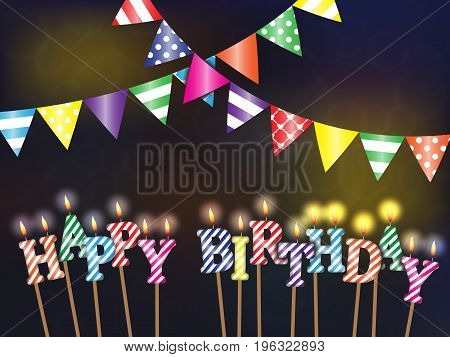 Greetings happy birthday with the lights and burning candles on dark background