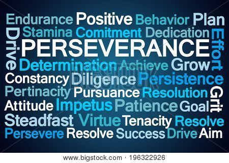Perseverance Word Cloud on Blue Background