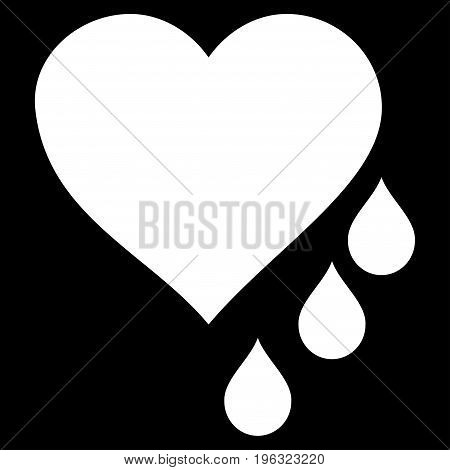 Heart Blood Drops flat icon. Vector white symbol. Pictograph is isolated on a black background. Trendy flat style illustration for web site design, logo, ads, apps, user interface.