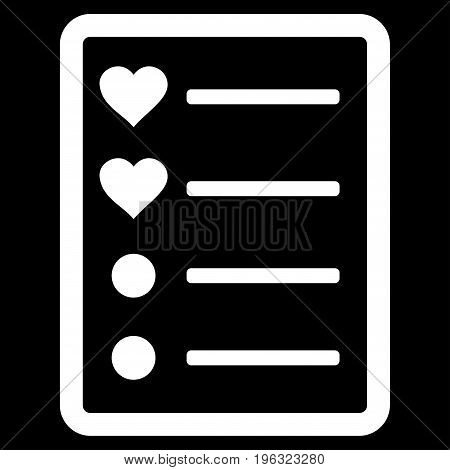Love List Page flat icon. Vector white symbol. Pictogram is isolated on a black background. Trendy flat style illustration for web site design, logo, ads, apps, user interface.