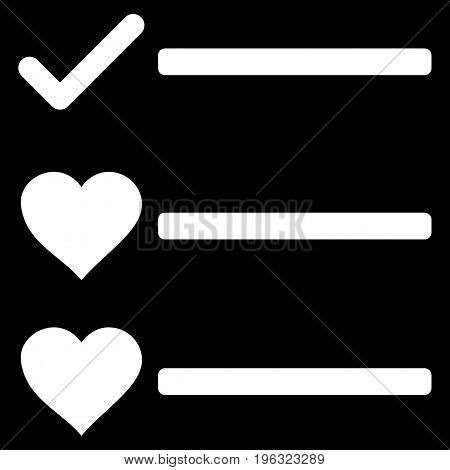 Love List flat icon. Vector white symbol. Pictograph is isolated on a black background. Trendy flat style illustration for web site design, logo, ads, apps, user interface.