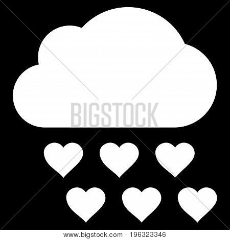 Love Rain Cloud flat icon. Vector white symbol. Pictogram is isolated on a black background. Trendy flat style illustration for web site design, logo, ads, apps, user interface.