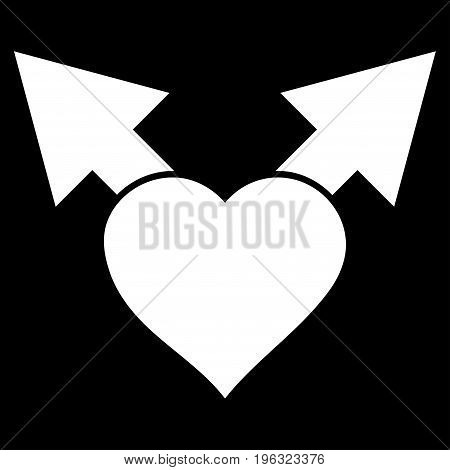 Love Variant Arrows flat icon. Vector white symbol. Pictograph is isolated on a black background. Trendy flat style illustration for web site design, logo, ads, apps, user interface.