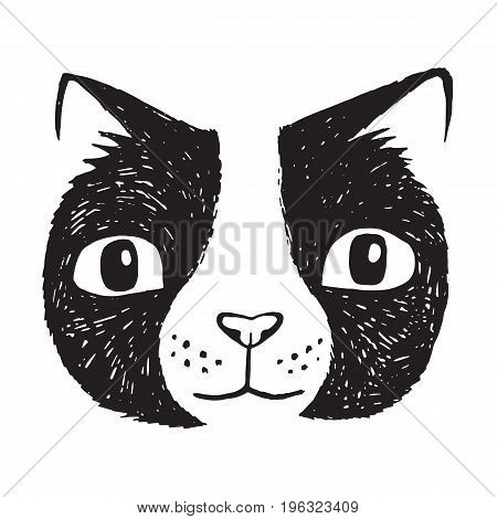 Simple hand drawn cartoon black cat. Vector Illustration.