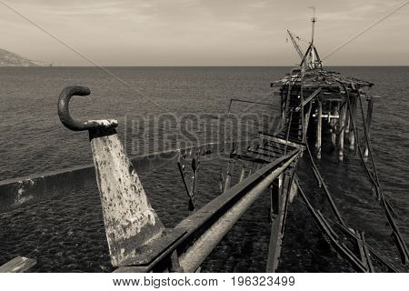 Derelict Pier at Xeros old Mining Port Cyprus in Black and White and Landscape format