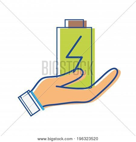 power electric battery charger in the hand vector illustration