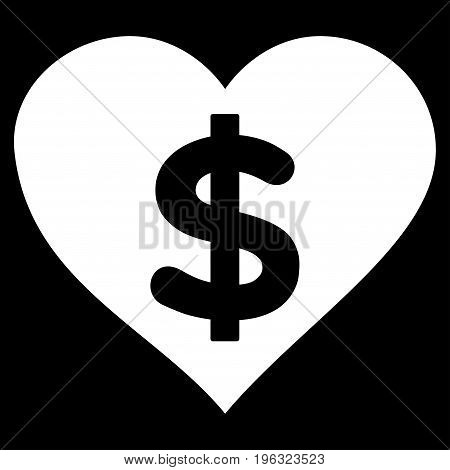 Paid Love flat icon. Vector white symbol. Pictogram is isolated on a black background. Trendy flat style illustration for web site design, logo, ads, apps, user interface.