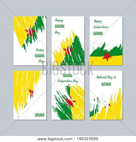 Guiana Patriotic Cards For National Day. Expressive Brush Stroke In National Flag Colors On White Ca