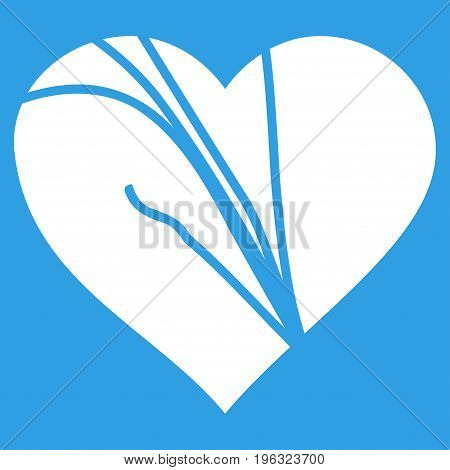 Damaged Love Heart flat icon. Vector white symbol. Pictograph is isolated on a blue background. Trendy flat style illustration for web site design, logo, ads, apps, user interface.