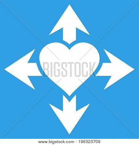 Expand Love Heart flat icon. Vector white symbol. Pictogram is isolated on a blue background. Trendy flat style illustration for web site design, logo, ads, apps, user interface.