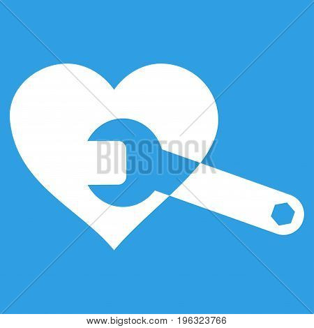 Heart Surgery Wrench flat icon. Vector white symbol. Pictograph is isolated on a blue background. Trendy flat style illustration for web site design, logo, ads, apps, user interface.