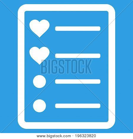 Love List Page flat icon. Vector white symbol. Pictogram is isolated on a blue background. Trendy flat style illustration for web site design, logo, ads, apps, user interface.