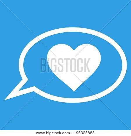 Love Message Balloon flat icon. Vector white symbol. Pictograph is isolated on a blue background. Trendy flat style illustration for web site design, logo, ads, apps, user interface.