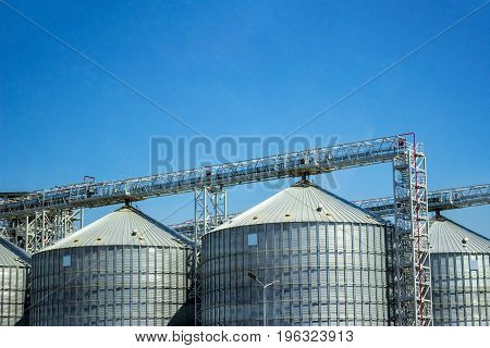 Storage silos for agricultural cereal products.Industrial storage of raw materials in silos.