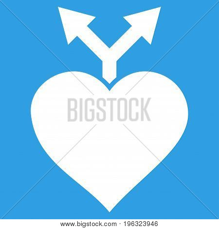 Love Variants flat icon. Vector white symbol. Pictogram is isolated on a blue background. Trendy flat style illustration for web site design, logo, ads, apps, user interface.