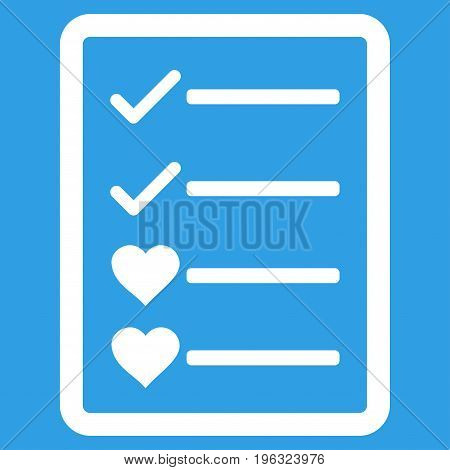 Lovely List Page flat icon. Vector white symbol. Pictograph is isolated on a blue background. Trendy flat style illustration for web site design, logo, ads, apps, user interface.