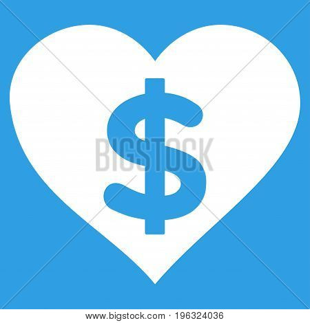 Paid Love flat icon. Vector white symbol. Pictograph is isolated on a blue background. Trendy flat style illustration for web site design, logo, ads, apps, user interface.