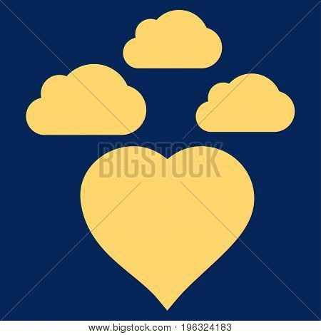 Cloudy Love Heart flat icon. Vector yellow symbol. Pictogram is isolated on a blue background. Trendy flat style illustration for web site design, logo, ads, apps, user interface.