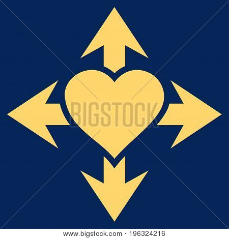 Expand Love Heart flat icon. Vector yellow symbol. Pictogram is isolated on a blue background. Trendy flat style illustration for web site design, logo, ads, apps, user interface.