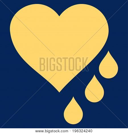 Heart Blood Drops flat icon. Vector yellow symbol. Pictogram is isolated on a blue background. Trendy flat style illustration for web site design, logo, ads, apps, user interface.