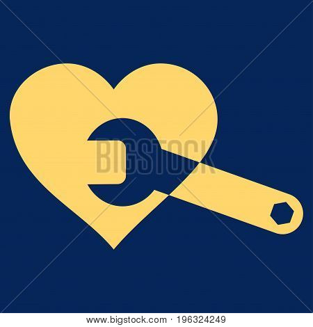 Heart Surgery Wrench flat icon. Vector yellow symbol. Pictograph is isolated on a blue background. Trendy flat style illustration for web site design, logo, ads, apps, user interface.