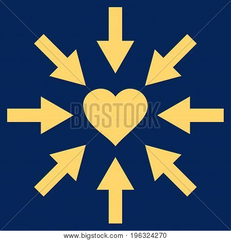 Impact Love Heart flat icon. Vector yellow symbol. Pictogram is isolated on a blue background. Trendy flat style illustration for web site design, logo, ads, apps, user interface.