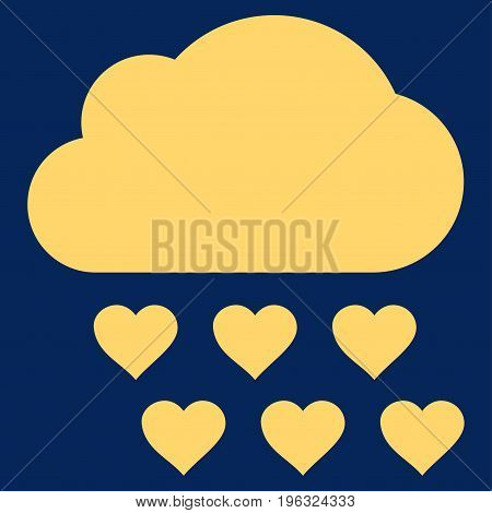 Love Rain Cloud flat icon. Vector yellow symbol. Pictogram is isolated on a blue background. Trendy flat style illustration for web site design, logo, ads, apps, user interface.