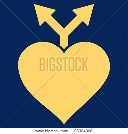 Love Variants flat icon. Vector yellow symbol. Pictogram is isolated on a blue background. Trendy flat style illustration for web site design, logo, ads, apps, user interface.