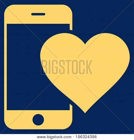 Lovely Smartphone flat icon. Vector yellow symbol. Pictogram is isolated on a blue background. Trendy flat style illustration for web site design, logo, ads, apps, user interface.