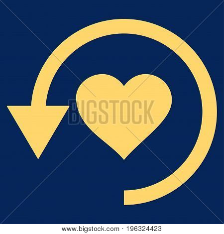 Refresh Love flat icon. Vector yellow symbol. Pictogram is isolated on a blue background. Trendy flat style illustration for web site design, logo, ads, apps, user interface.