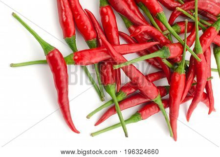 Stack Of Hot Chili Pepper Or Small Chili Padi, Isolated On White Background