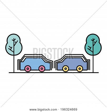 cars transportation in the same road with trees vector illustration