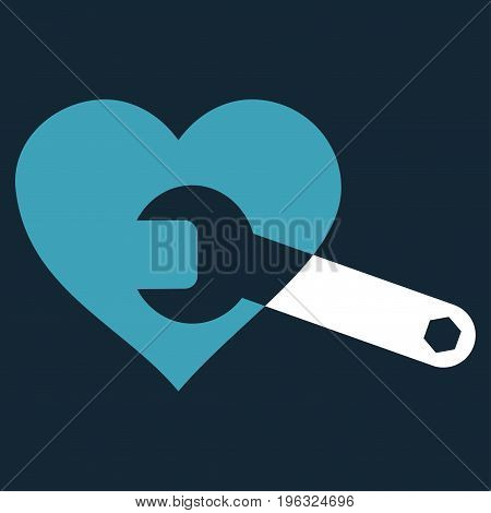 Heart Surgery Wrench flat icon. Vector bicolor blue and white symbol. Pictograph is isolated on a dark blue background. Trendy flat style illustration for web site design, logo, ads, apps,