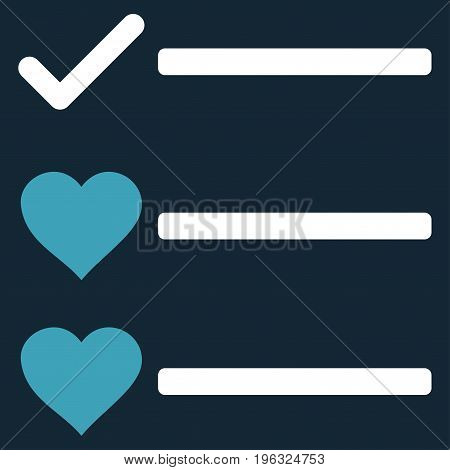 Love List flat icon. Vector bicolor blue and white symbol. Pictograph is isolated on a dark blue background. Trendy flat style illustration for web site design, logo, ads, apps, user interface.