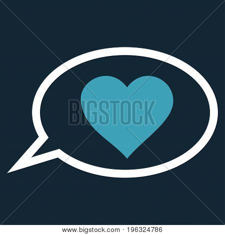 Love Message Balloon flat icon. Vector bicolor blue and white symbol. Pictograph is isolated on a dark blue background. Trendy flat style illustration for web site design, logo, ads, apps,