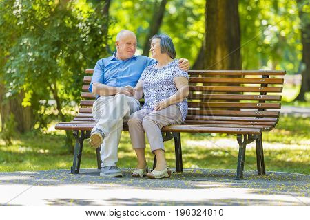 Senior couple talking while sitting on bench in summer park.