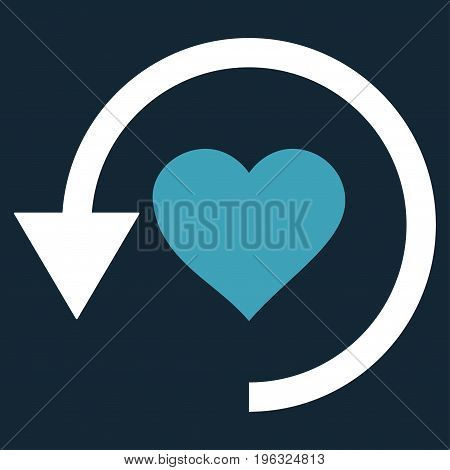 Refresh Love flat icon. Vector bicolor blue and white symbol. Pictograph is isolated on a dark blue background. Trendy flat style illustration for web site design, logo, ads, apps, user interface.