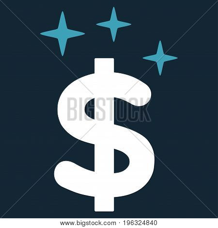 Sparkle Dollar Symbol flat icon. Vector bicolor blue and white symbol. Pictogram is isolated on a dark blue background. Trendy flat style illustration for web site design, logo, ads, apps,
