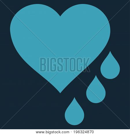 Heart Blood Drops flat icon. Vector blue symbol. Pictogram is isolated on a dark blue background. Trendy flat style illustration for web site design, logo, ads, apps, user interface.