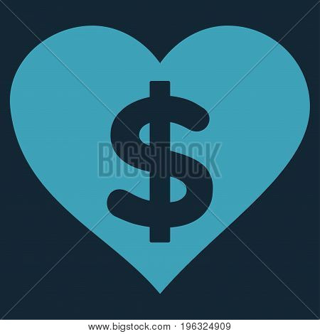Paid Love flat icon. Vector blue symbol. Pictogram is isolated on a dark blue background. Trendy flat style illustration for web site design, logo, ads, apps, user interface.