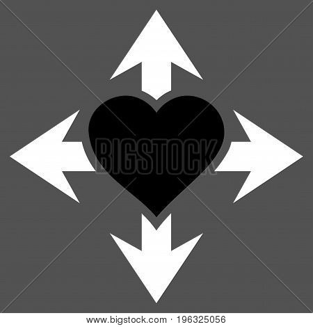 Expand Love Heart flat icon. Vector bicolor black and white symbol. Pictograph is isolated on a gray background. Trendy flat style illustration for web site design, logo, ads, apps, user interface.