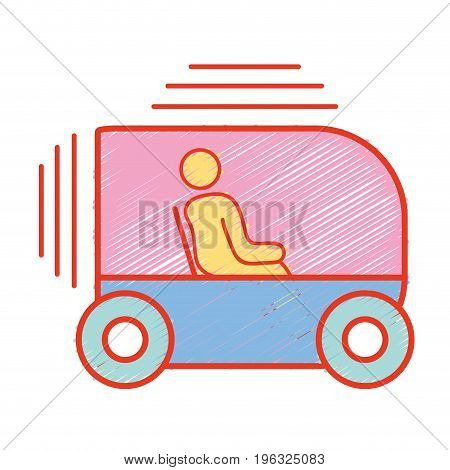 person seated in the futuristic car innovation vector illustration