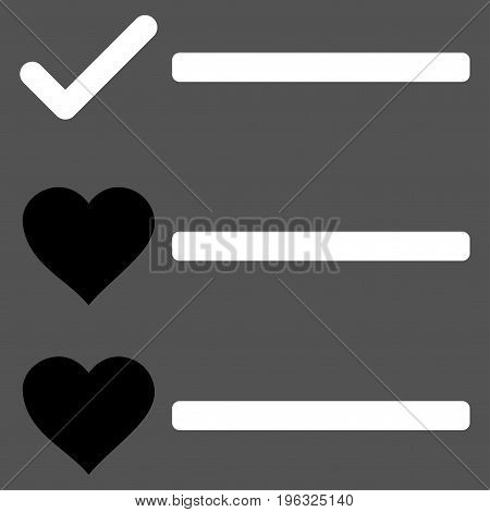 Love List flat icon. Vector bicolor black and white symbol. Pictograph is isolated on a gray background. Trendy flat style illustration for web site design, logo, ads, apps, user interface.