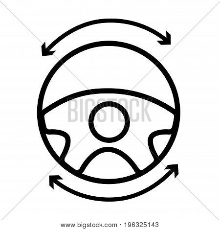 line steering wheel futuristic car innovation vector illustration