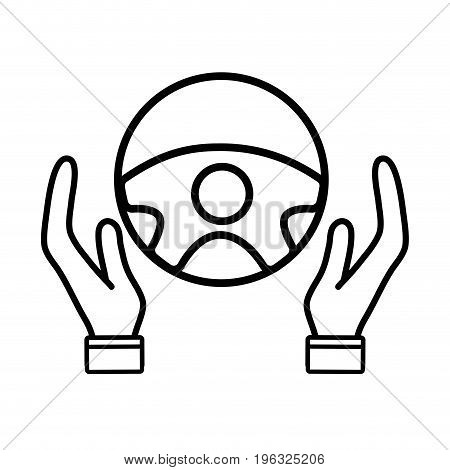 line person hands driving steering wheel ivector illustration