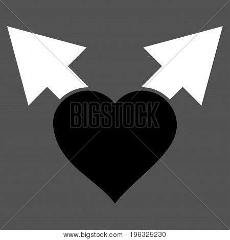 Love Variant Arrows flat icon. Vector bicolor black and white symbol. Pictogram is isolated on a gray background. Trendy flat style illustration for web site design, logo, ads, apps, user interface.