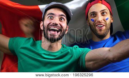 Italian Friends Celebrating with Italy Flag