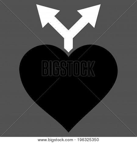 Love Variants flat icon. Vector bicolor black and white symbol. Pictograph is isolated on a gray background. Trendy flat style illustration for web site design, logo, ads, apps, user interface.