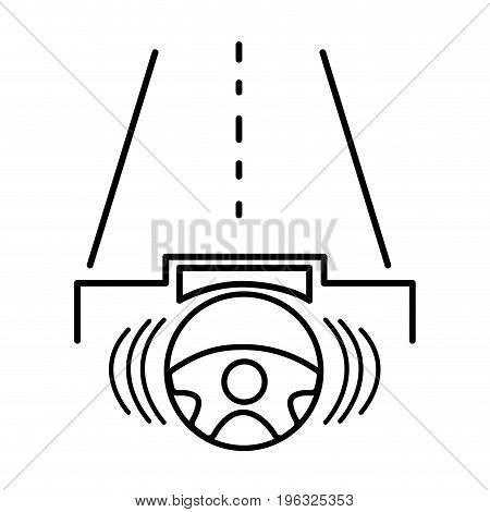 line steering wheel futuristic car in the road vector illustration